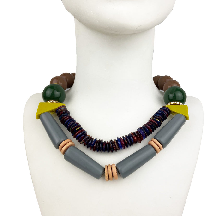 kATERINA PSOMA Acrylic Multicolor Short Necklace costume jewelry
