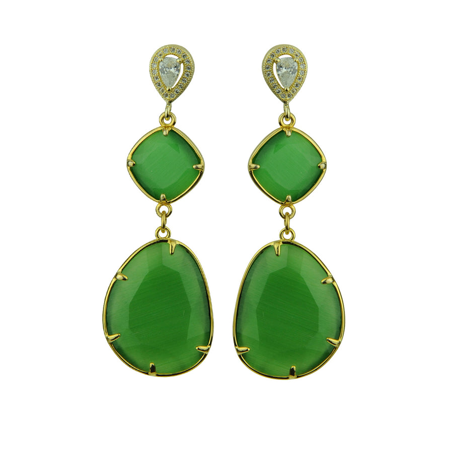Katerina Psoma Dangle Earrings with Green Slabs