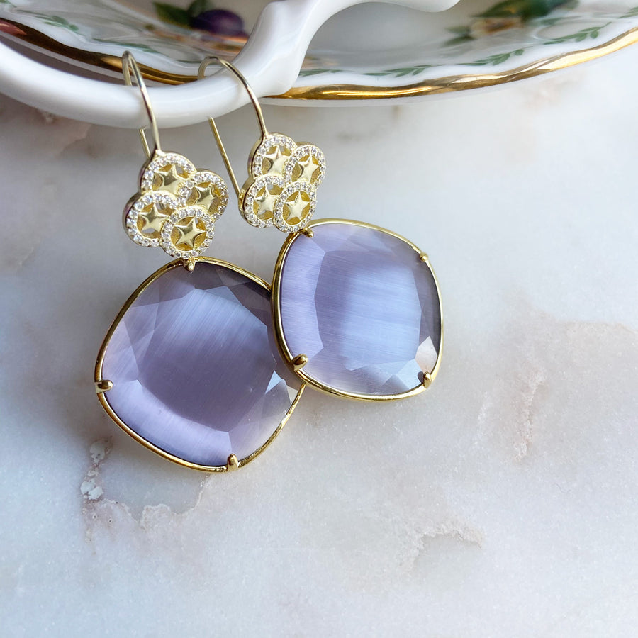 Katerina Psoma Lilac Cat's Eye Dangle Earrings