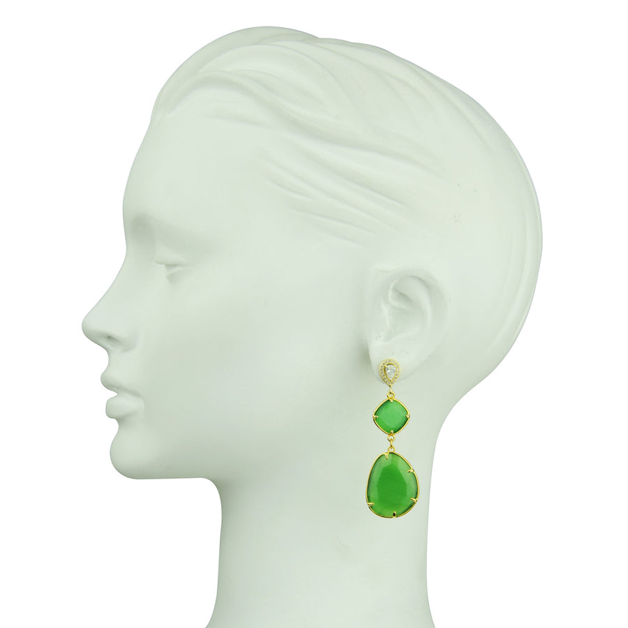 Dangle Earrings with Green Slabs 925 gold plated silver