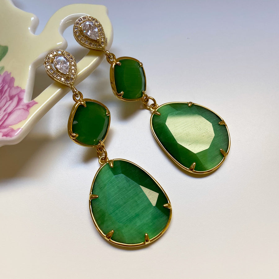 katerina Psoma Dangle Earrings with Green Slabs demi fine jewelry