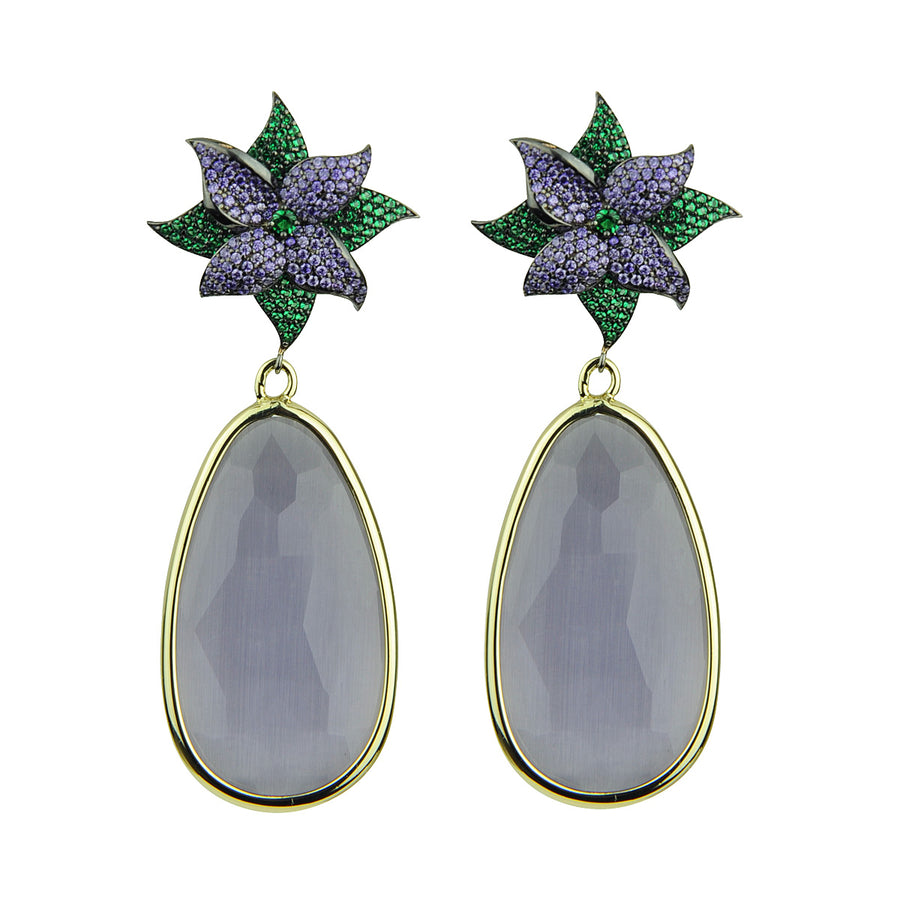 Katerina psoma Dangle Earrings with Lilac  costume jewelryDrops