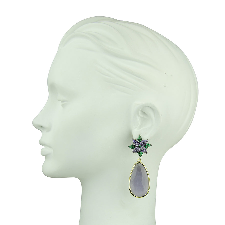 Katerina psoma Dangle Earrings with Lilac Drops costume jewelry statement earrings