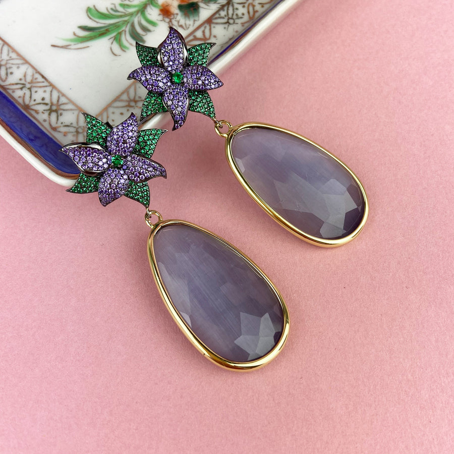 Katerina Psoma Dangle Earrings with Lilac Drops