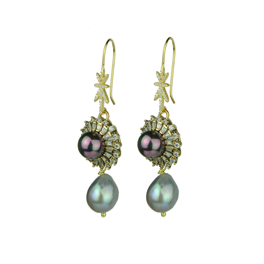 Grey Pearl and Vintage Charm Hook Earrings katerina psoma