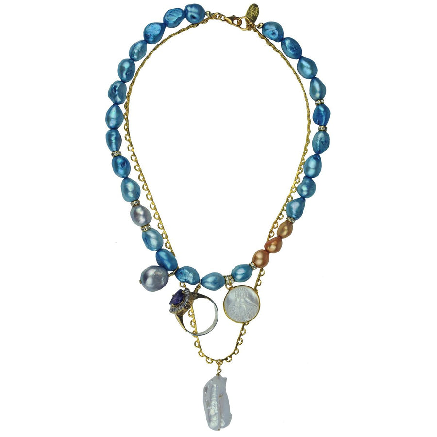 Blue Pearls and Charms Short Necklace katerina psoma