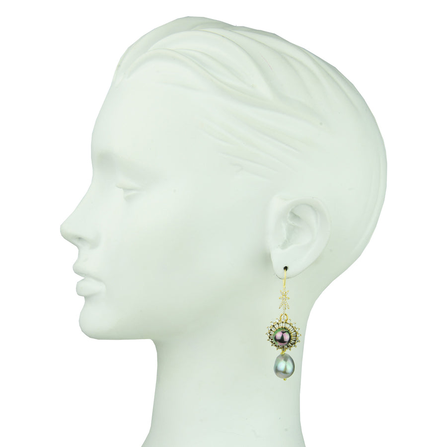 Grey Pearl and Vintage Crystal Charm Hook Earrings katerina psoma