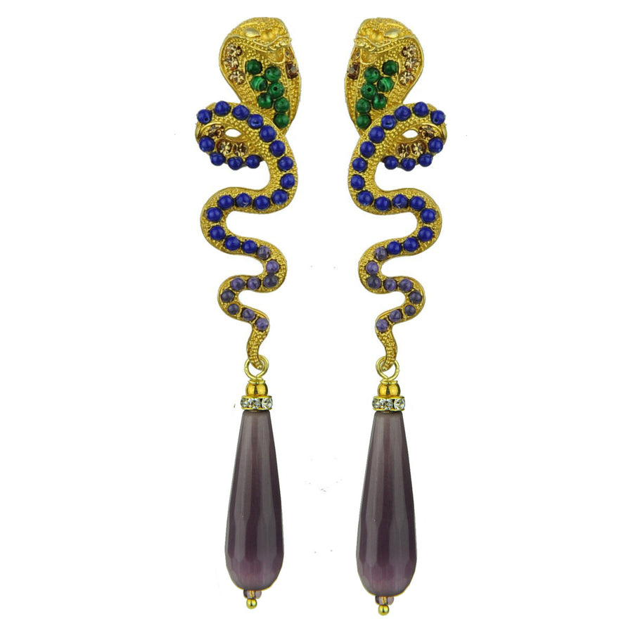 Gold Plated Metal Snake Earrings with Purple Drops katerina psoma