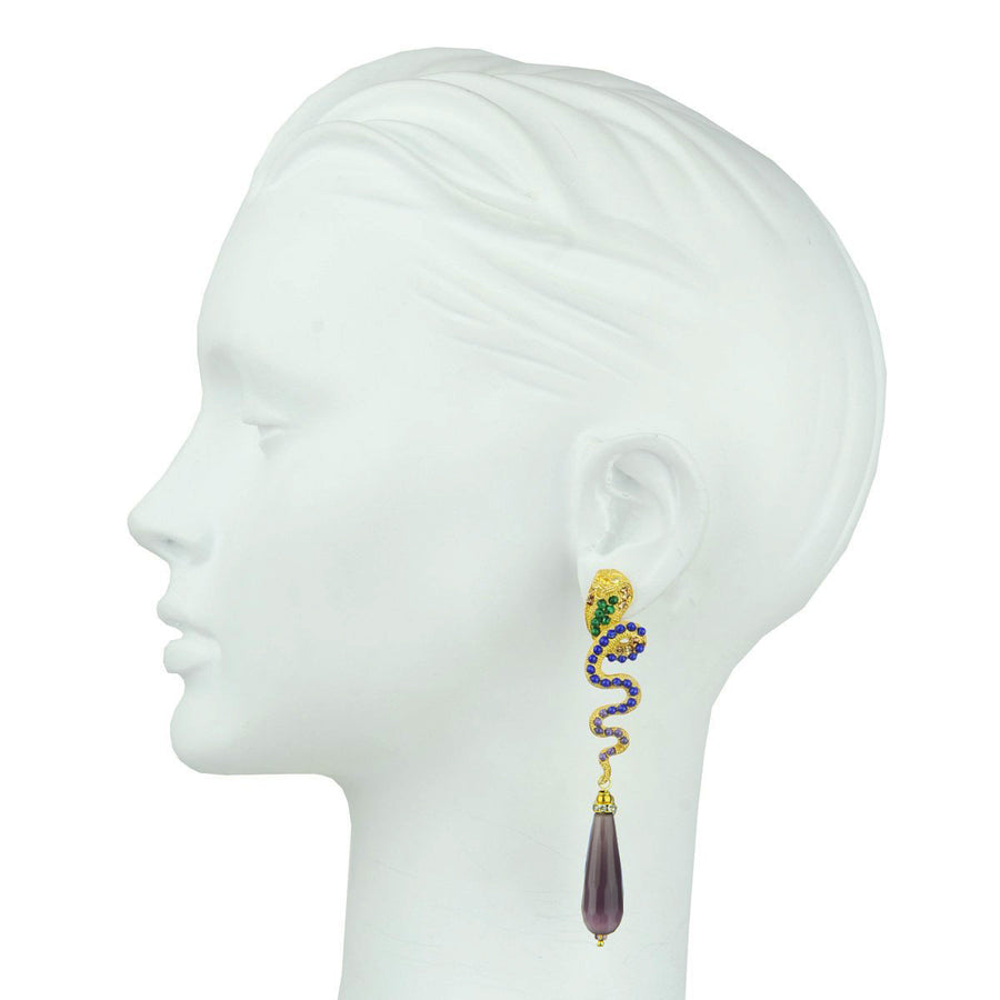 Gold Plated Metal Snake Statement Earrings with Purple Drops katerina psoma