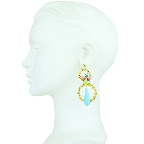 Vintage Crystal and Double Gold Plated Metal Hoop Earrings