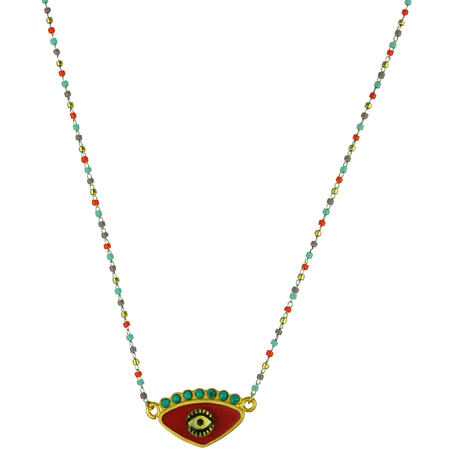 katerina psoma red evil eye short necklace with beads