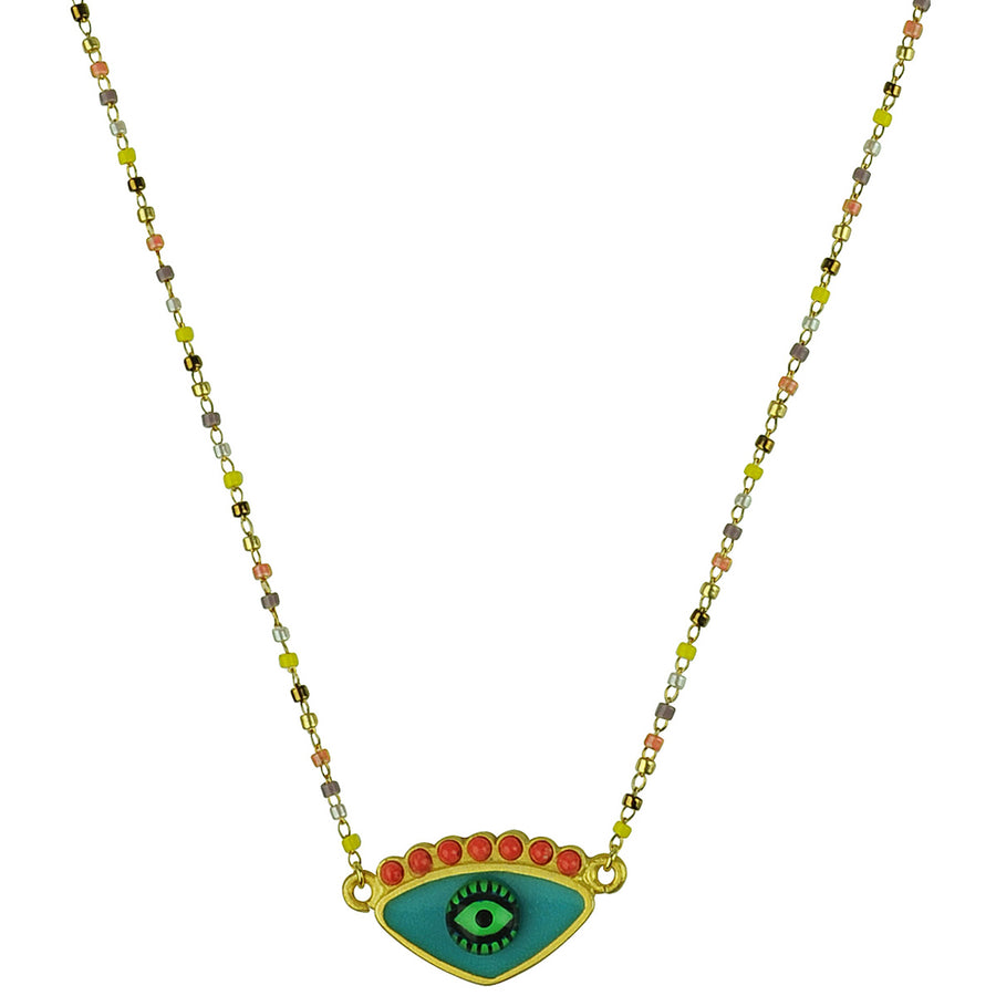 katerina psoma turquoise evil eye short necklace with beads