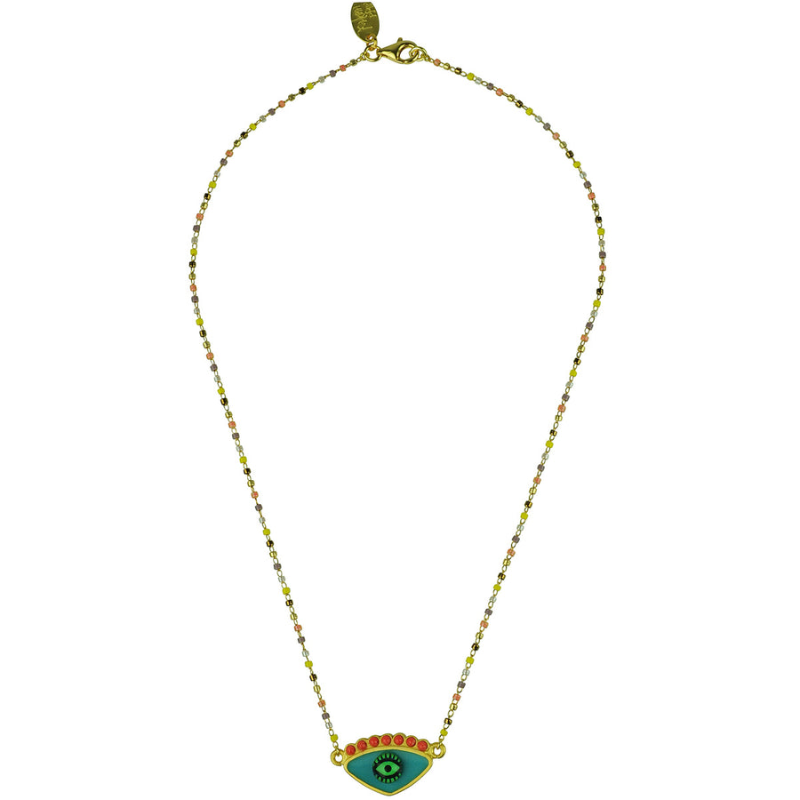 katerina psoma turquoise evil eye short necklace with beads  bohemian