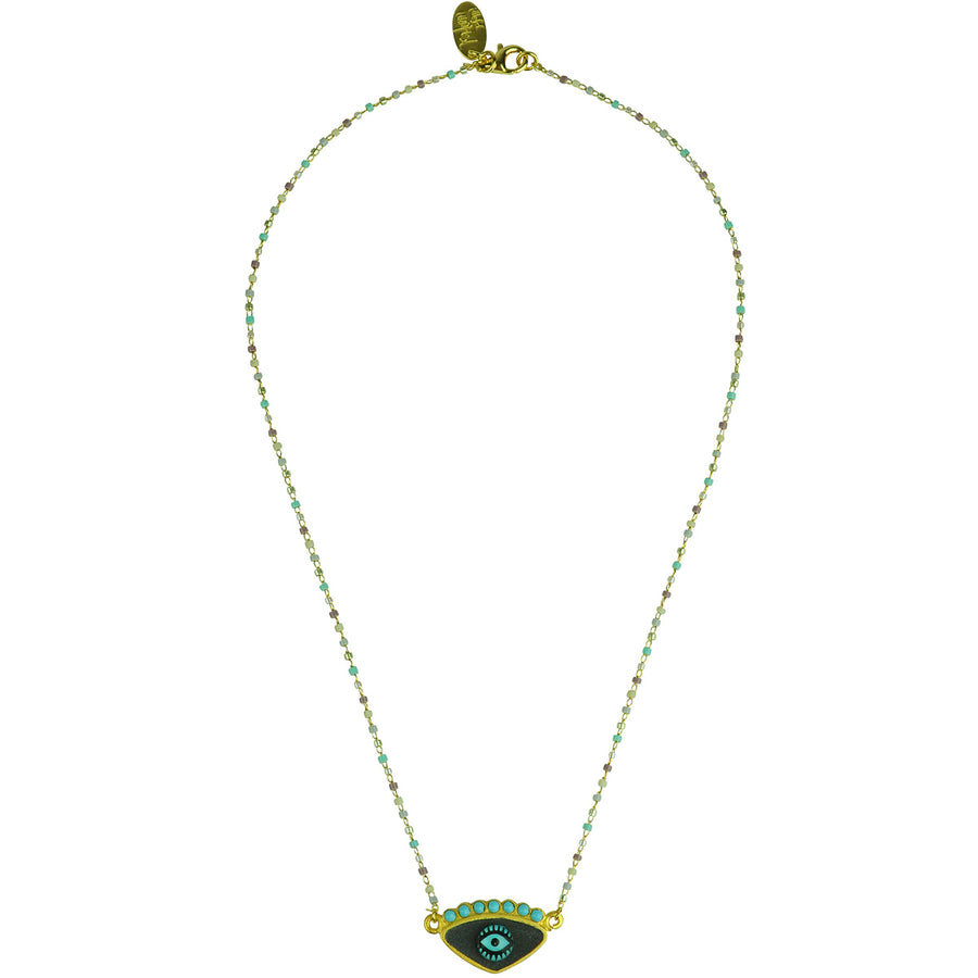 katerina psoma grey evil eye short necklace with beads bohemian