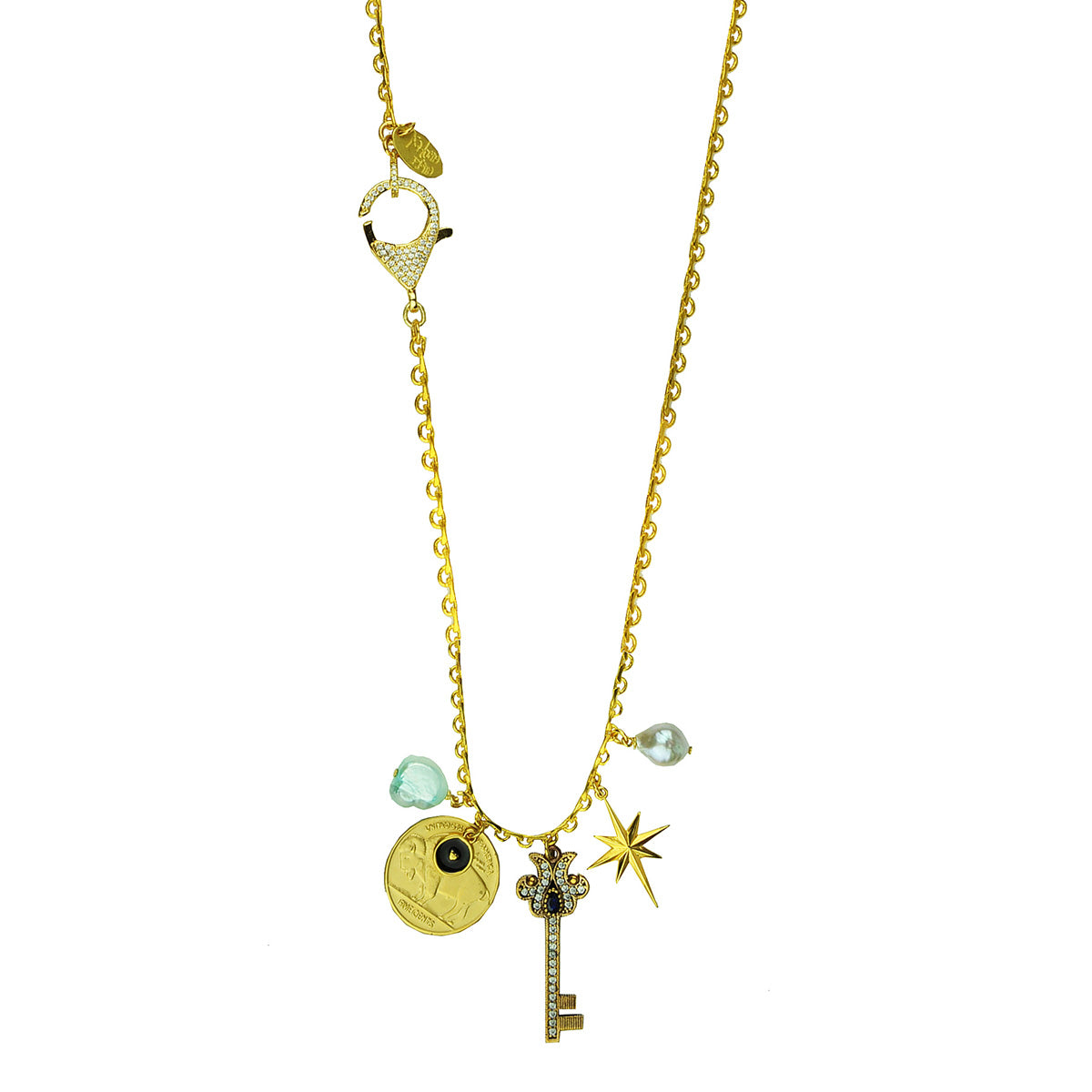 gold plated chain necklace with charms and a crystal key adornment katerina psoma