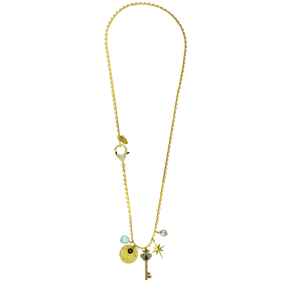 gold platedbrass chain necklace with charms and a crystal key adornment katerina psoma