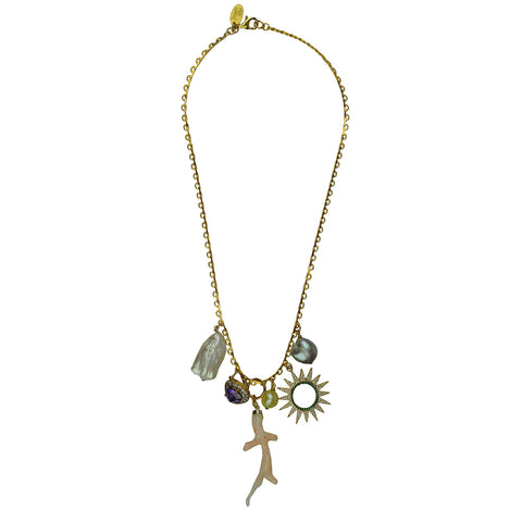 Alina Charms and Coral Chain Gold Plated Necklace