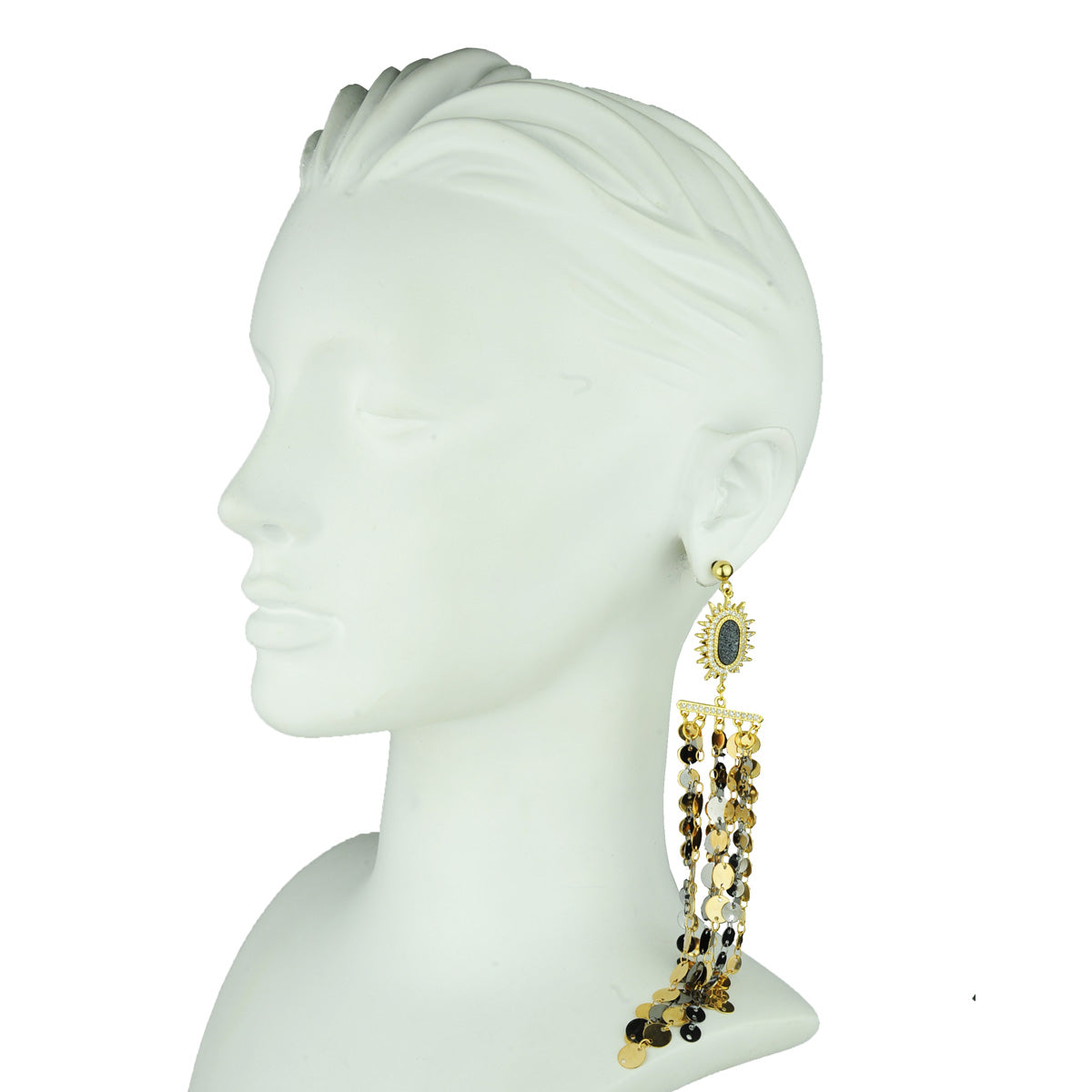 dangle earrings with metal chains and crystals 925 silver studs katerina psoma