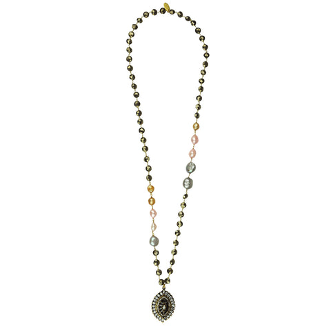 Aylin Pyrite and Pearl Long Pendant Necklace