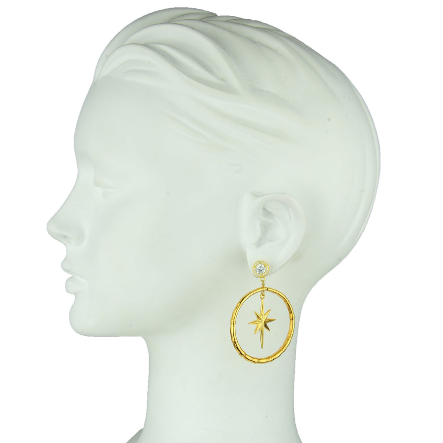 gold plated metal hoops with 925 silver studs with crystals katerina psoma