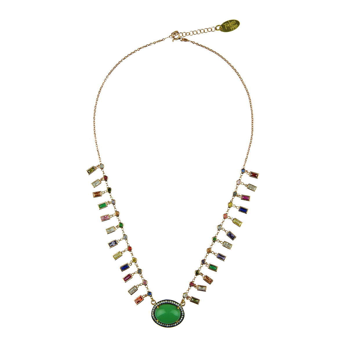 Katerina psoma Short Chrysoprase and Crystal Chain Necklace