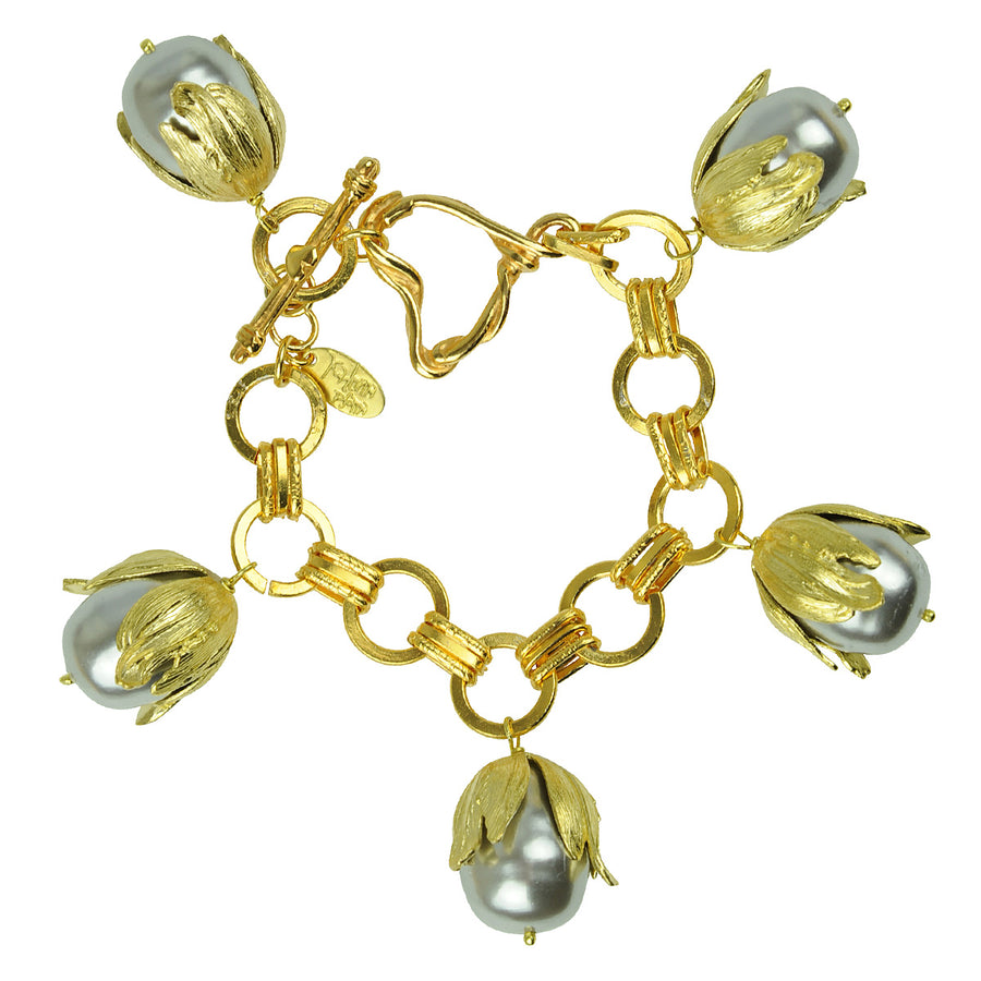 kATERINA pSOMA Chain Bracelet with Grey Pearls