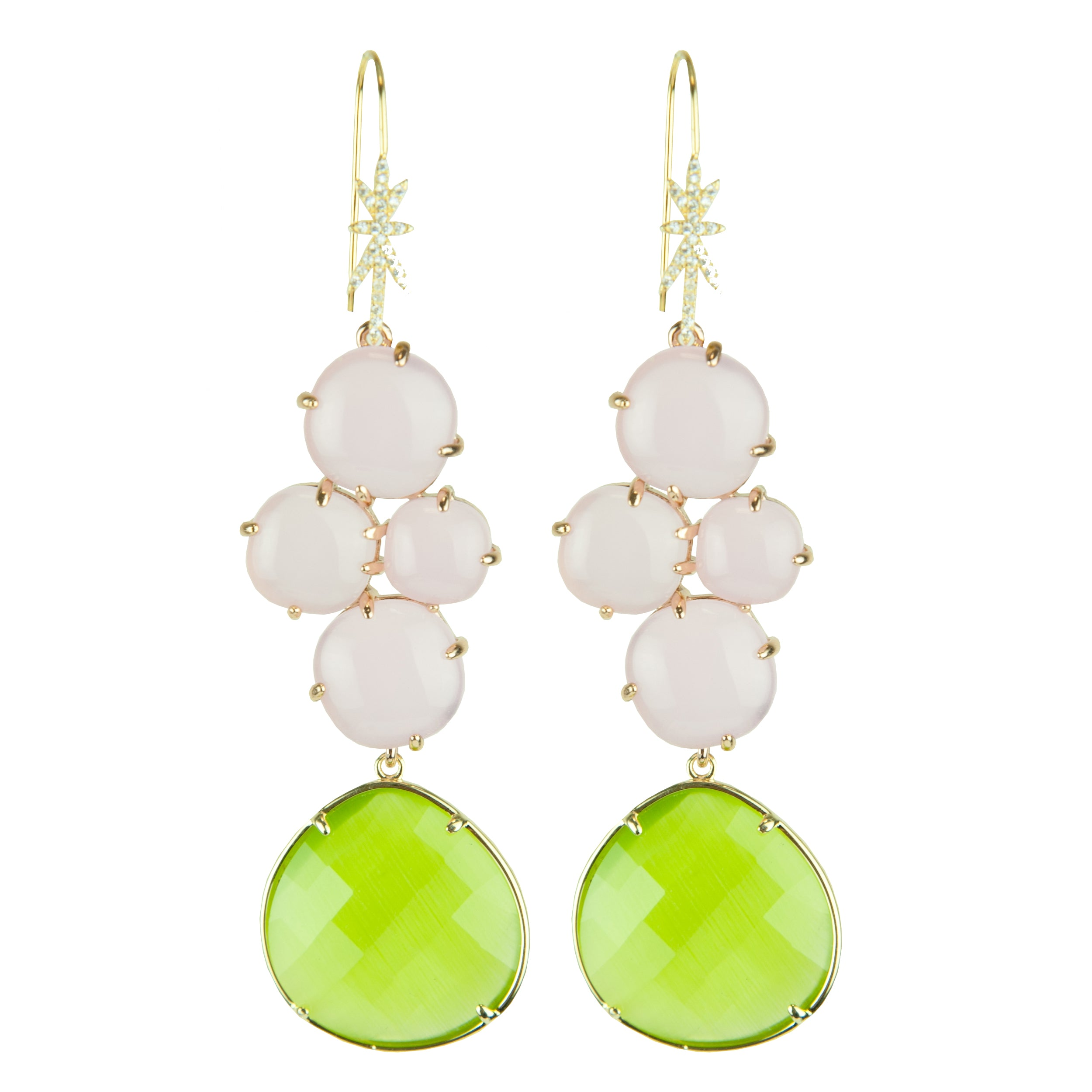 Eleanor Lime and Pink Cat's Eye Dangle Earrings