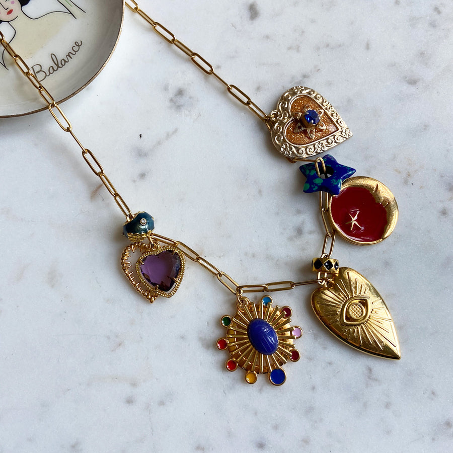 Katerina Psoma Charm Necklace with Enamel and Stones costume jewelry