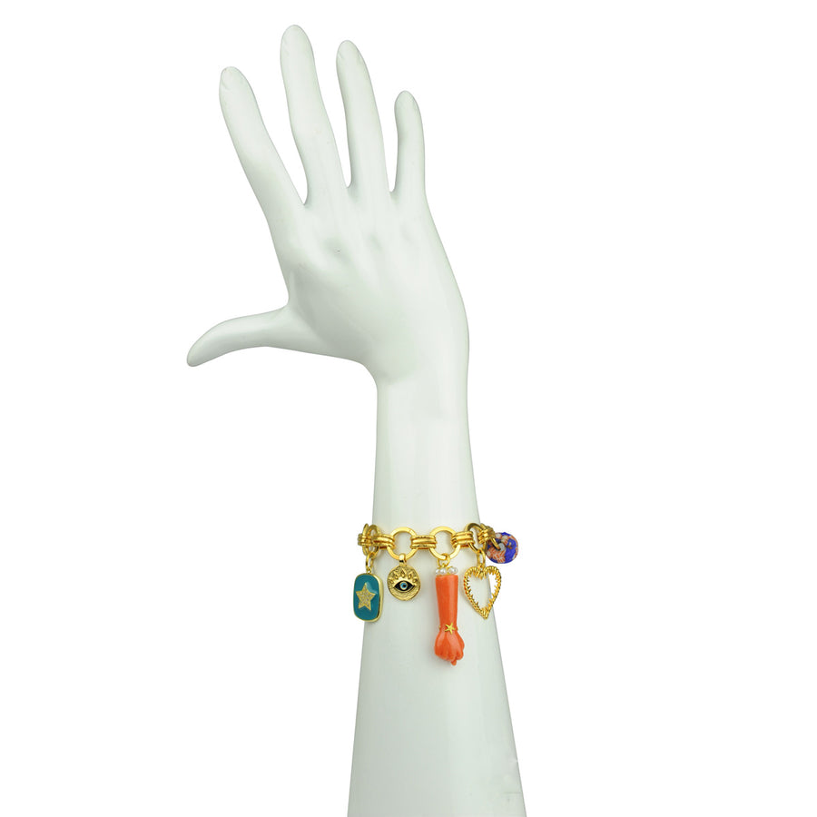Katerina Psoma Chain Bracelet with Charms and Coral Votive bust