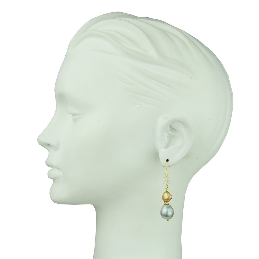 fresh water pearl beige and grey earrings with gold plated 925 silver hooks katerina psoma
