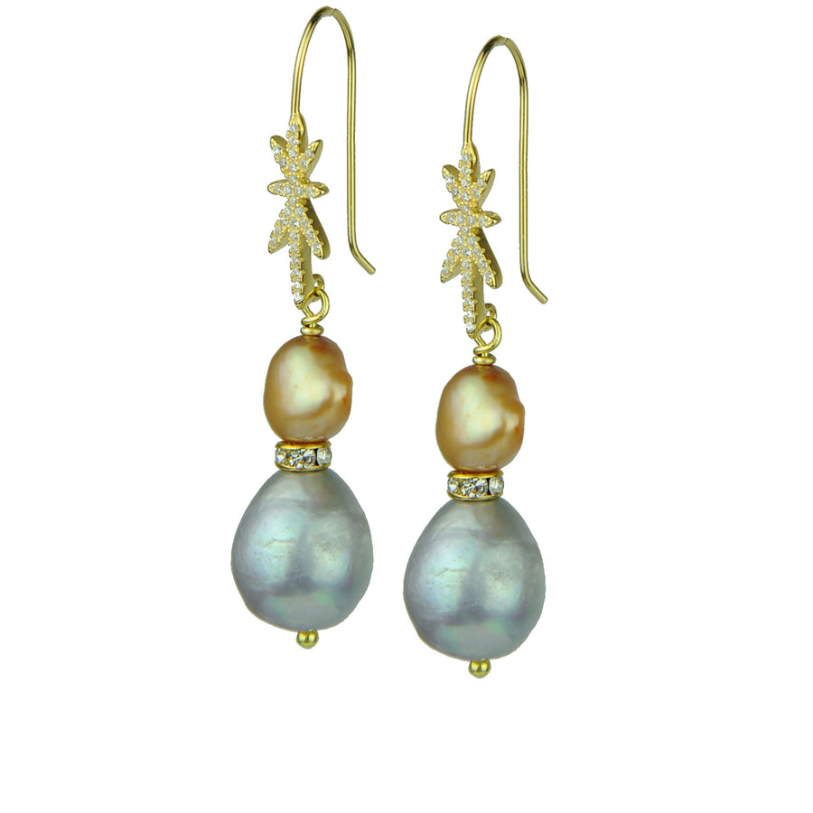 fresh water pearl earrings with gold plated 925 silver hooks katerina psoma
