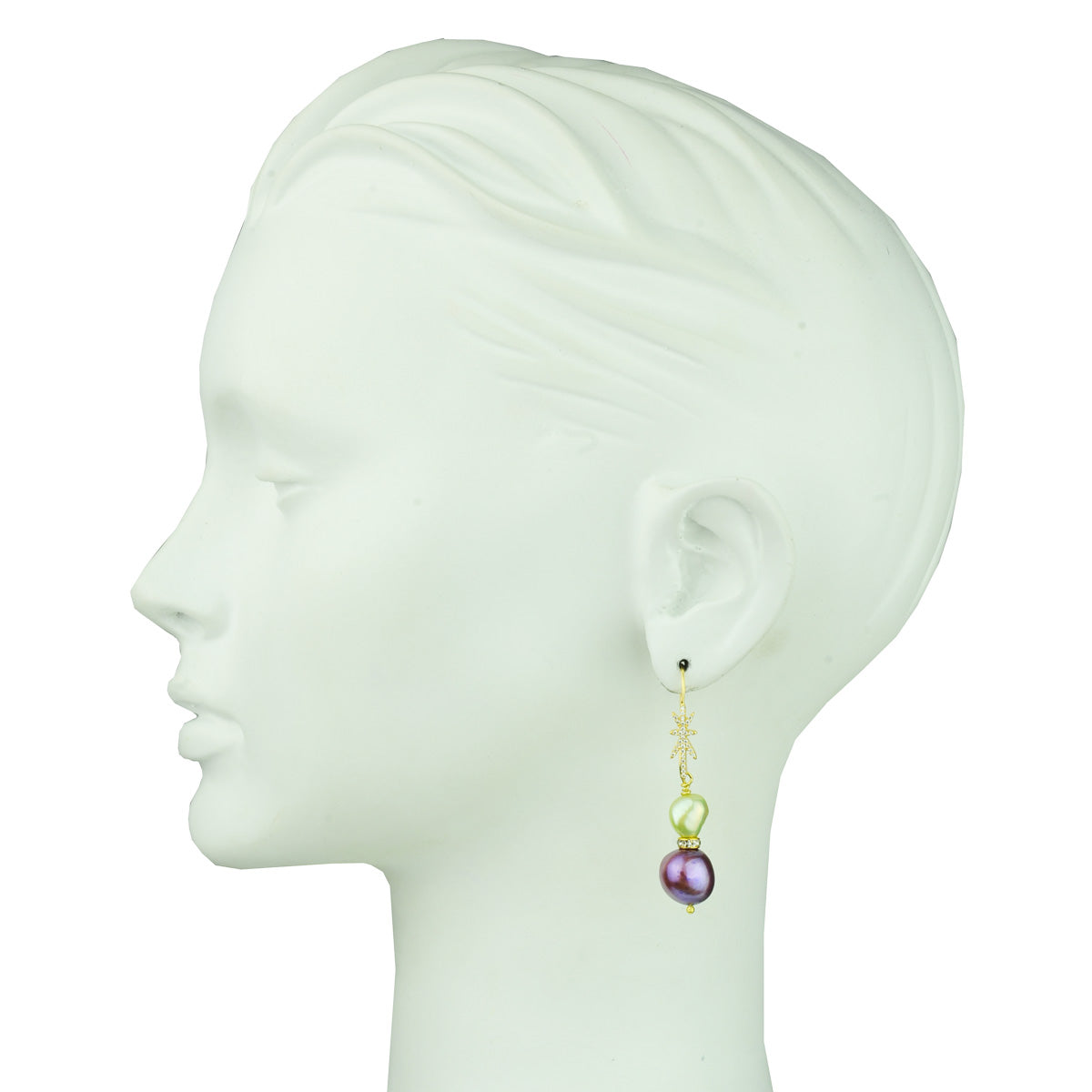 fancy fresh water pearl earrings with gold plated 925 silver hooks katerina psoma detail
