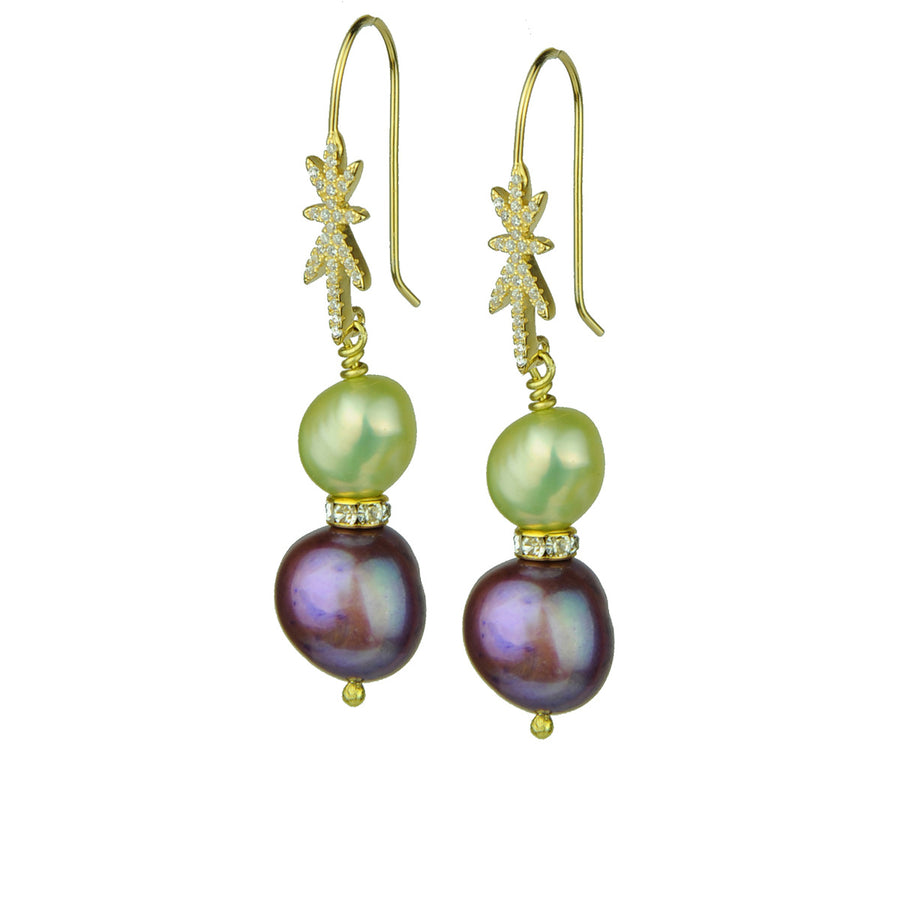 fancy fresh water pearl earrings with gold plated 925 silver hooks katerina psoma