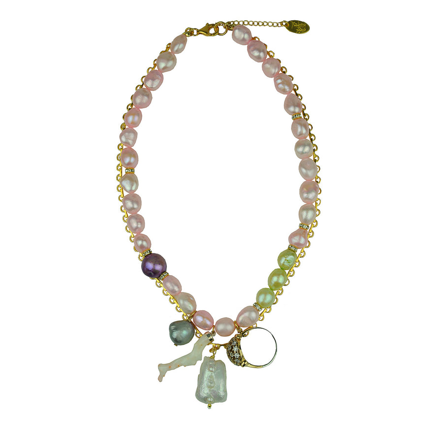 Short pink fresh water pearl necklace with chains and charms katerina psoma