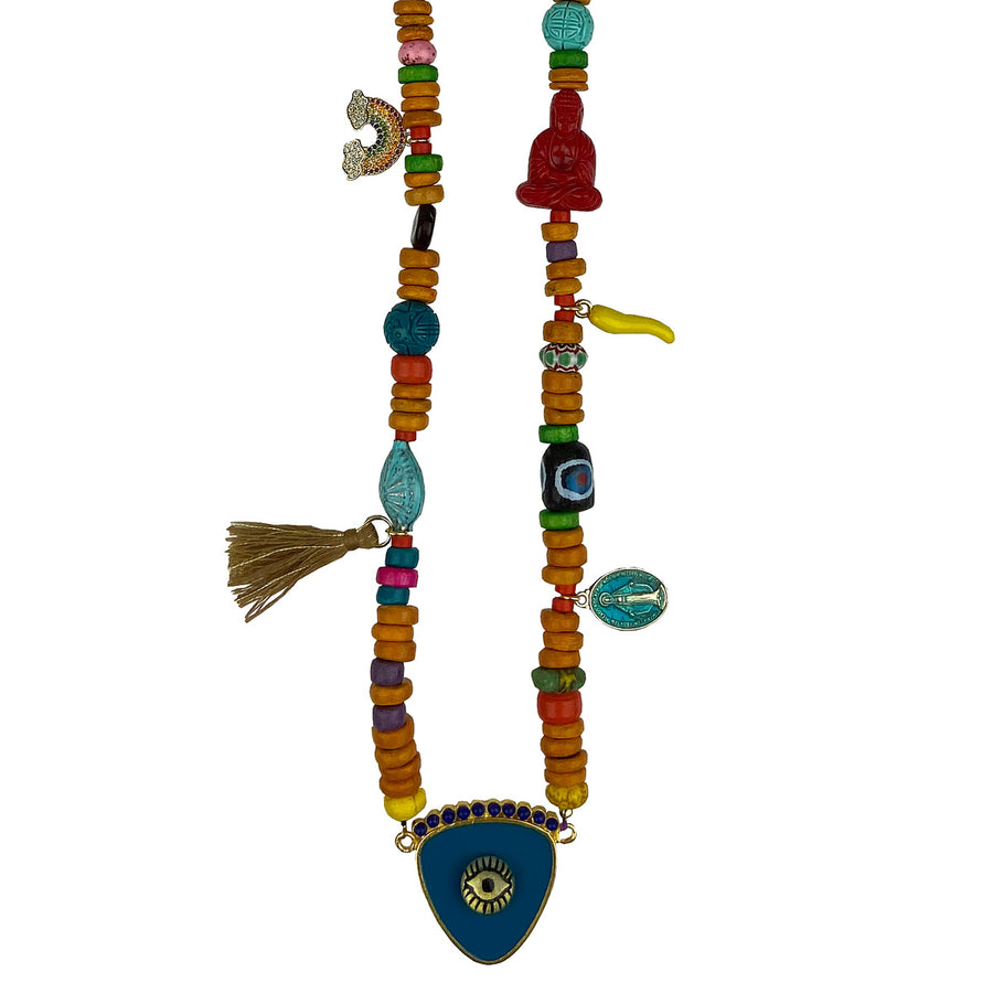 KATERINA PSOMA long evil eye necklace with stones and charms blue