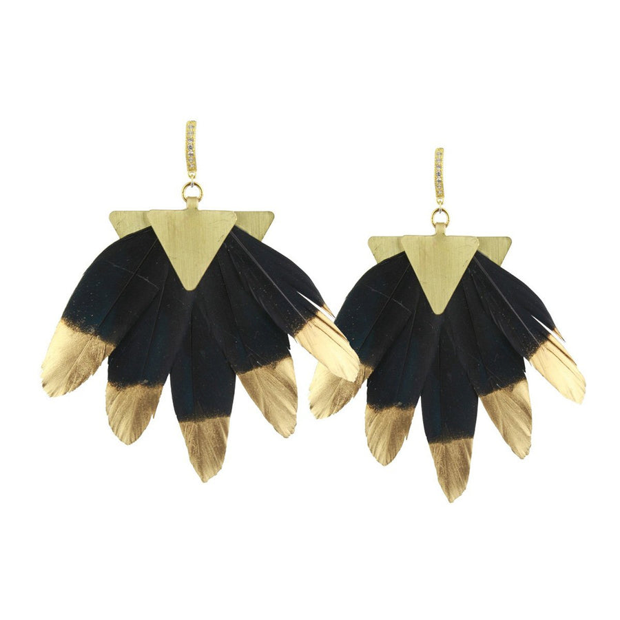 black and gold feather dangle earrings katerina psoma