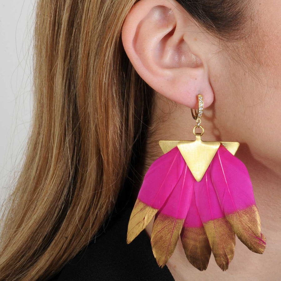 statement earrings with fuchsia and gold feathers katerina psoma