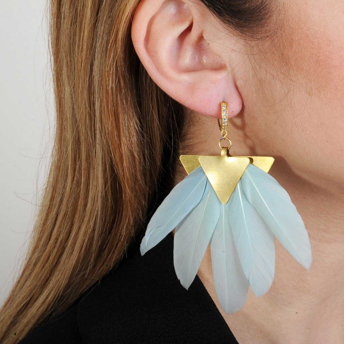 statement earrings with aqua marine feathers katerina psoma