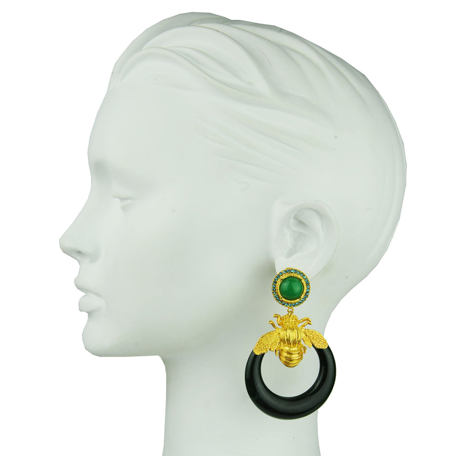 Green acrylic hoops with gold plated metal bees, rosettes with crystals katerina psoma 925 silver studs best seller
