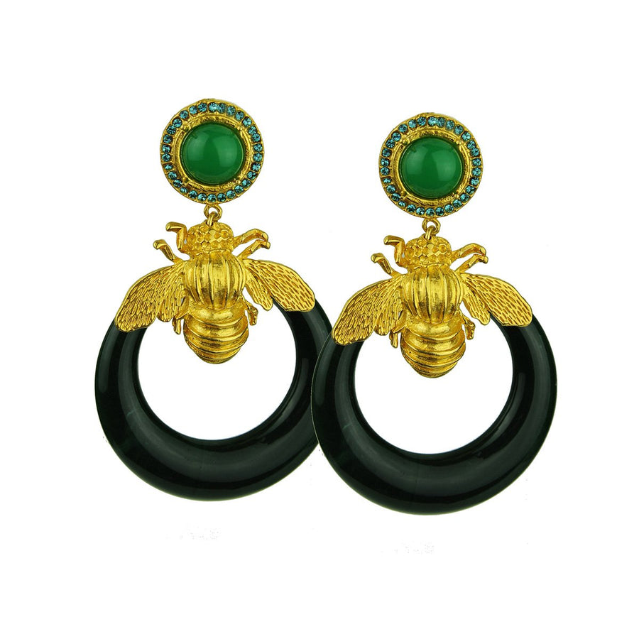 Green acrylic hoops with gold plated metal bees, rosettes with crystals katerina psoma 925 silver studs
