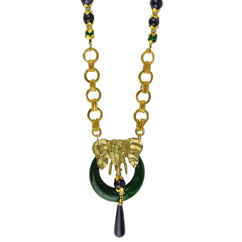 Long chain necklace with elephant pendant and amethyst katerina psoma