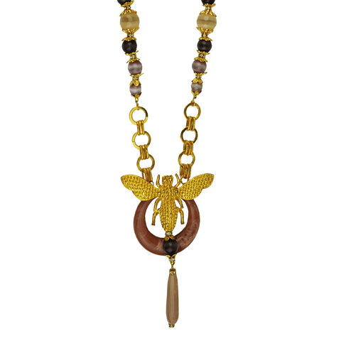 Long chain necklace with elephant pendant and beige agate drop katerina psoma