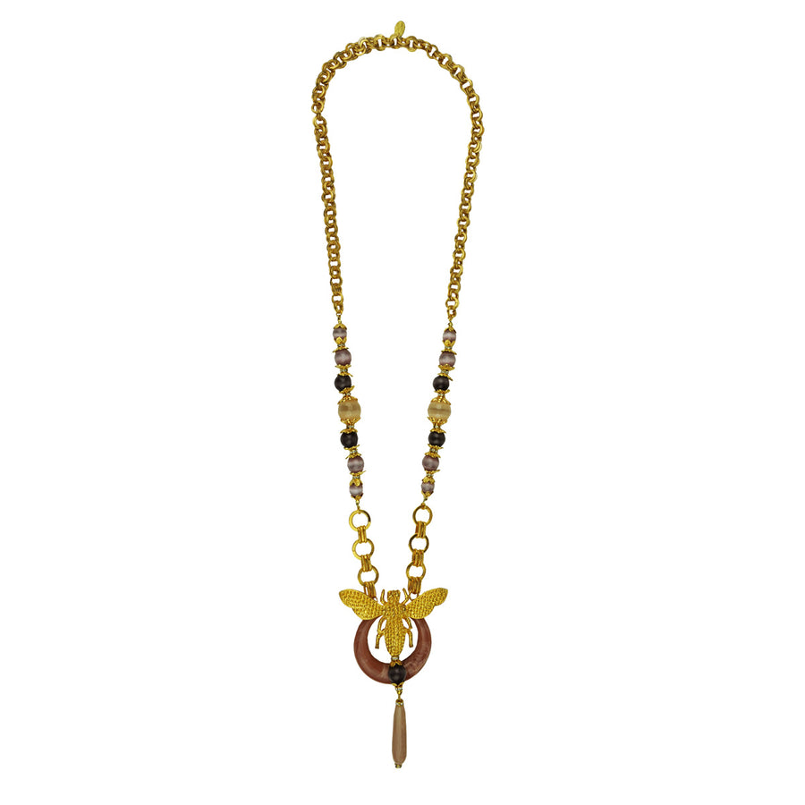 Long chain necklace with elephant pendant and beige agate drop katerina psoma perfect for day wear
