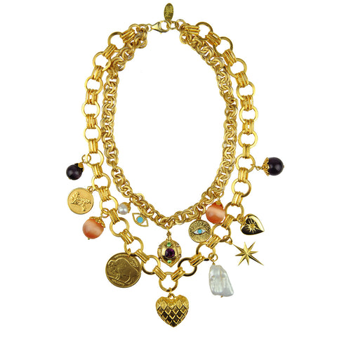 chain short necklace with various charms katerina psoma