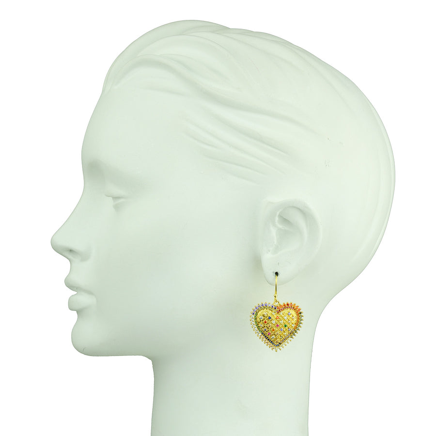 Katerina Psoma Dangle Earrings with Metal Hearts detail