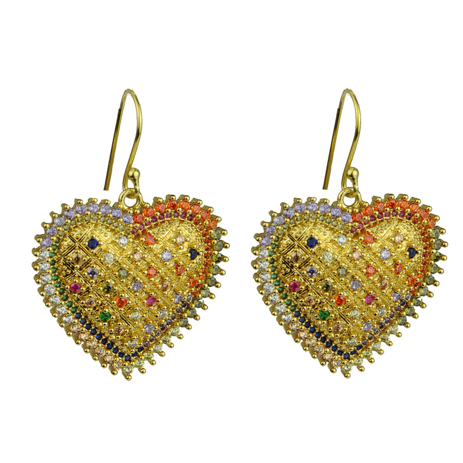 Katerina Psoma Dangle Earrings with Metal Hearts crystals