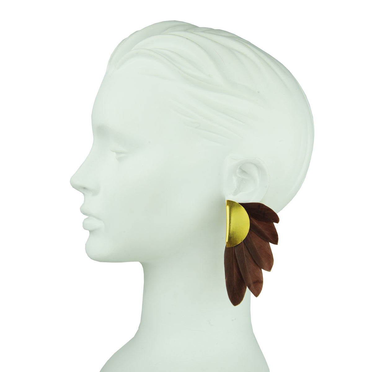 brown feather clip earrings