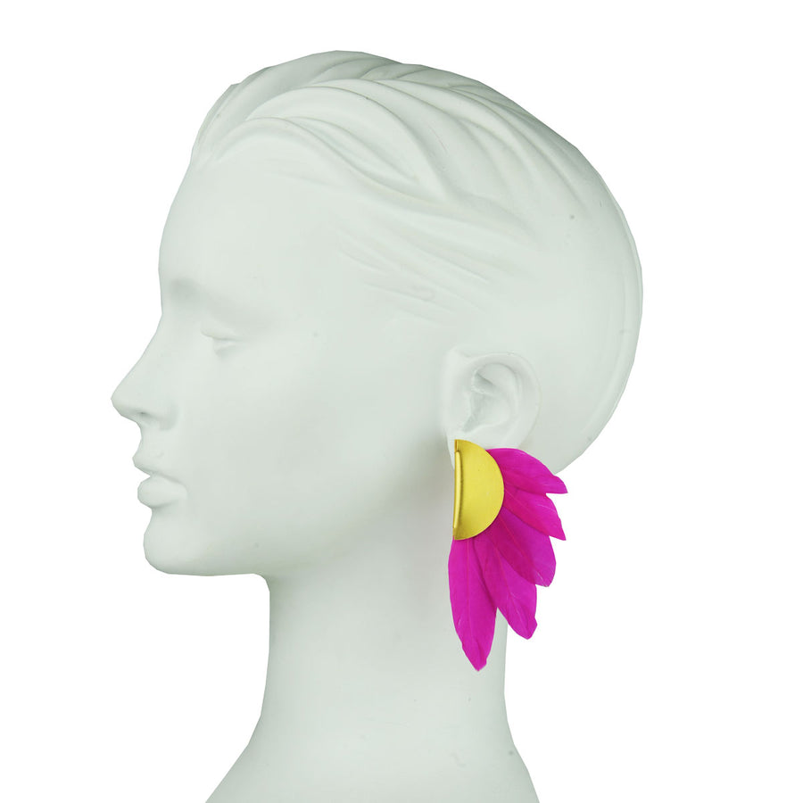 fuchsia feather clip earrings