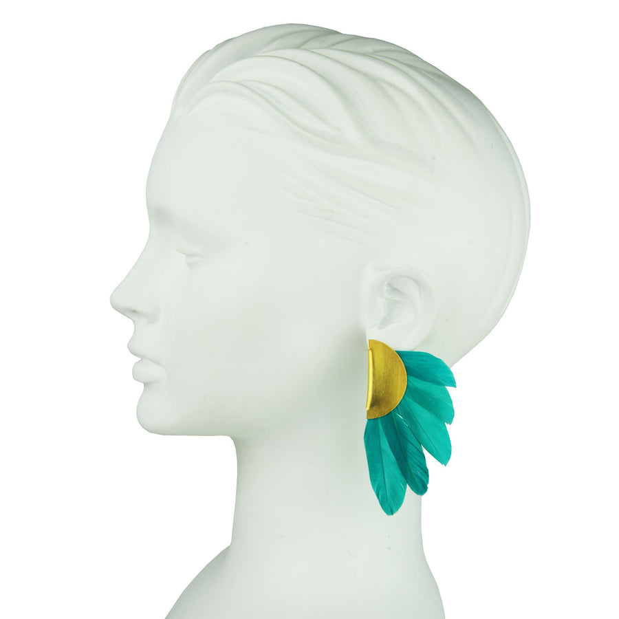 clip earrings green feathers katerina psoma