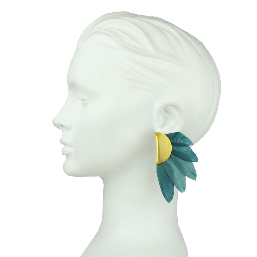 petrol feather clip earring